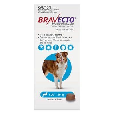Bravecto Large Dog Blue 20-40Kg 1Pk