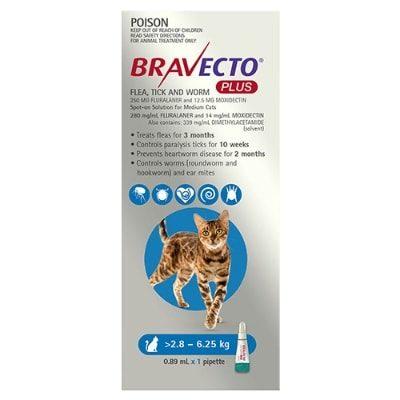 Bravecto Plus Cat 2.8-6.25Kg 1Pk