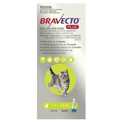 Bravecto Plus Cat 1.2-2.8Kg 1Pk