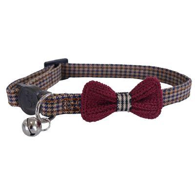 Rosewood Designer Burgundy Bow Dogtooth  Cat Collar