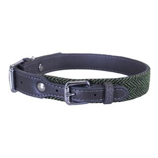 Rosewood Forest Herringbone/Grey Leather Collar