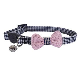 Rosewood Designer Pink Bow Dogtooth  Cat Collar