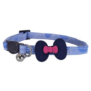 Rosewood Denim Navy Bow Cat Collar