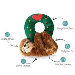 Fringe Studio Christmas Holiday Sloth Hanging from Wreath Plush Squeaker Dog Toy