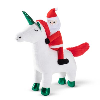 Fringe Studio Christmas Santa Unicorn Plush Squeaker Dog Toy
