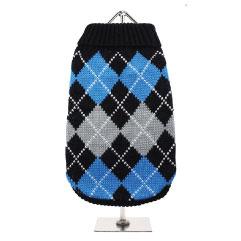 Urban Pup's Black & Blue Argyle Sweater